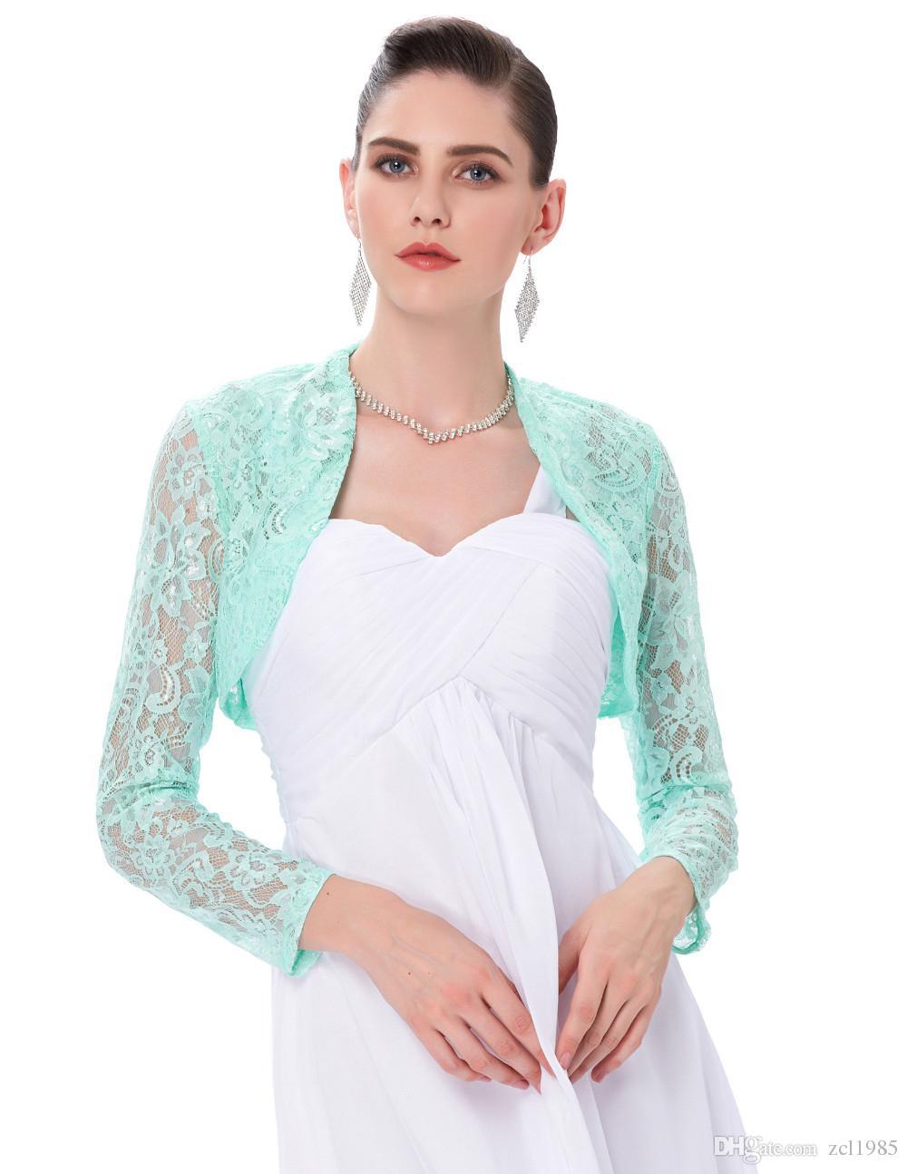 2019Long Sleeve Lace Bolero Wedding Accessories Plus Size Jacket Bridal Wraps Elegant Wedding Shawl Shrug Accessories