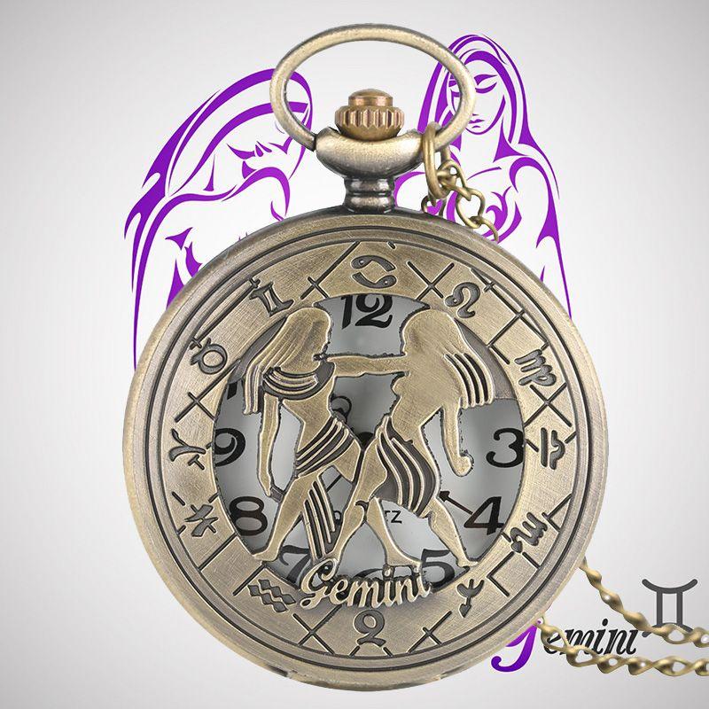 Gemini Zodiac Stylish Necklaces Quartz Pocket Watches Constellations Vintage Pendants Jewelry Men Women Children Birthday Gifts Watch For Sale