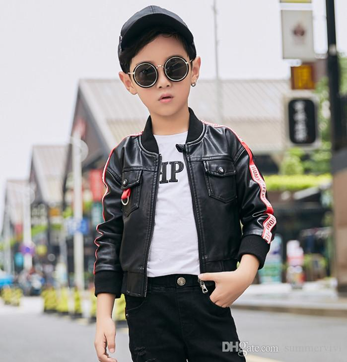 c49aefbde Boys PU Jacket Children Round Collar Stripe Letter Printed Long ...