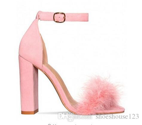 451ac719870252 Pink Blue Nude Feather High Heels Women Sandals Ankle Buckle Strap Women  Pumps Faux Suede Block Heels Women Shoes Shoe Shop Cute Shoes From  Shoeshouse123