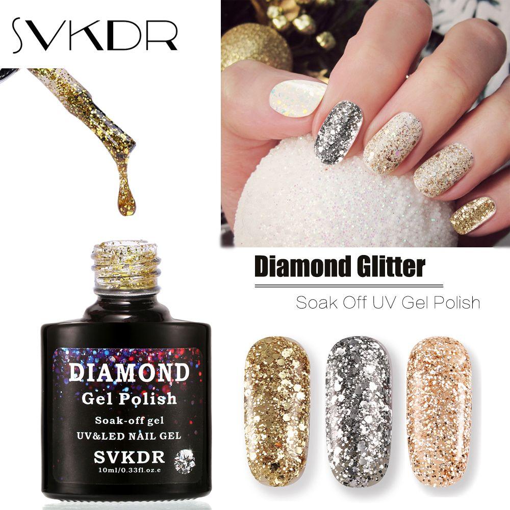 Svkdr Brand Professional Bling Glitter Uv Gel Polish Soak Off