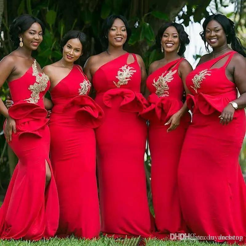 360a0f5daf5 Red One Shoulder Mermaid African Bridesmaid Dresses Ruffles Waist Appliques  Beaded Gold Bridesmaid Dress Plus Size Wedding Guest Gowns 2018 Jr  Bridesmaids ...
