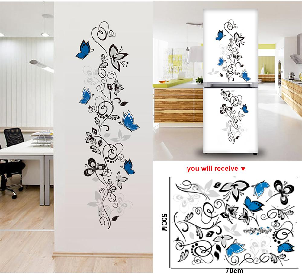 Flower vine butterflies wall stickers living room decor home decals mural art pvc print posters muraux sticker on the fridge decals on walls decals stickers
