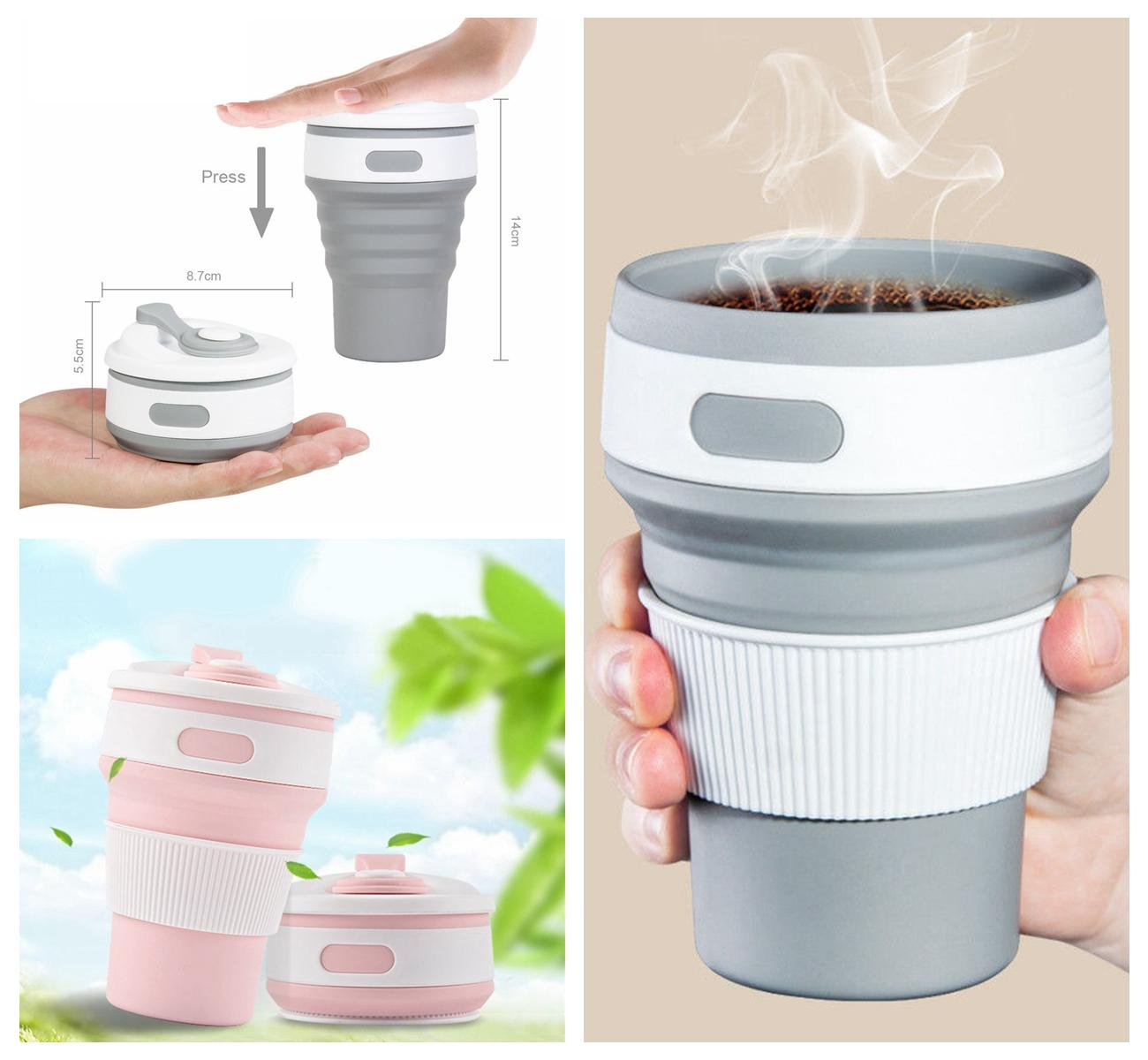 Hot New Folding Silicone Cup Portable Telescopic Drinking Collapsible Coffee Cup Multi-function Folding Travel Water Mug DDA387