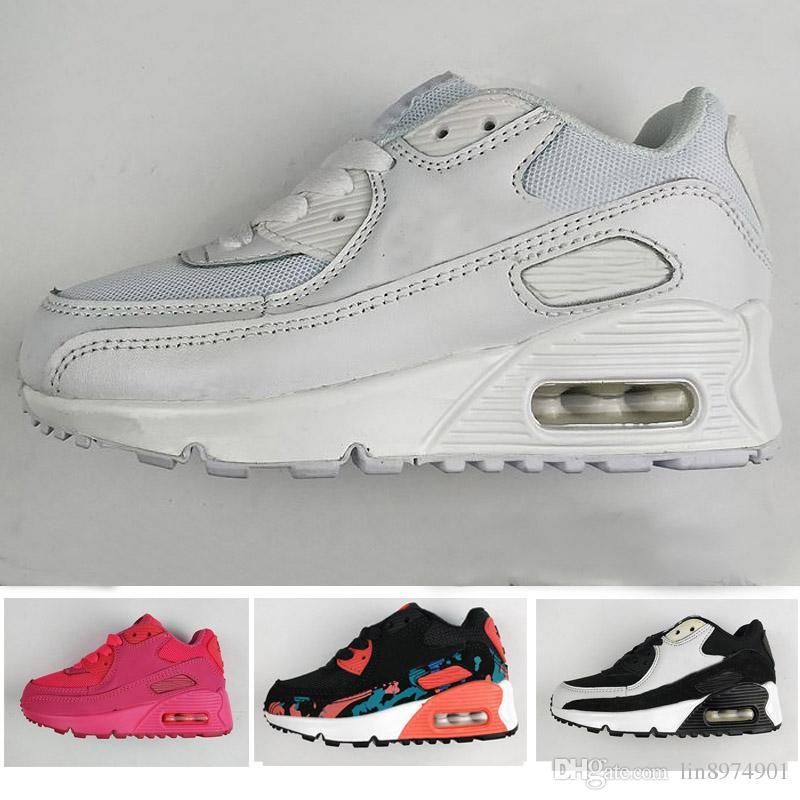 brand new ed0c8 00763 Acheter 2018 Nike Air Max 90 Printemps Automne Enfants Chaussures 90 Rose +  Rouge + Noir Respirant Confortable Enfants Sneakers Garçons Filles Toddler  ...