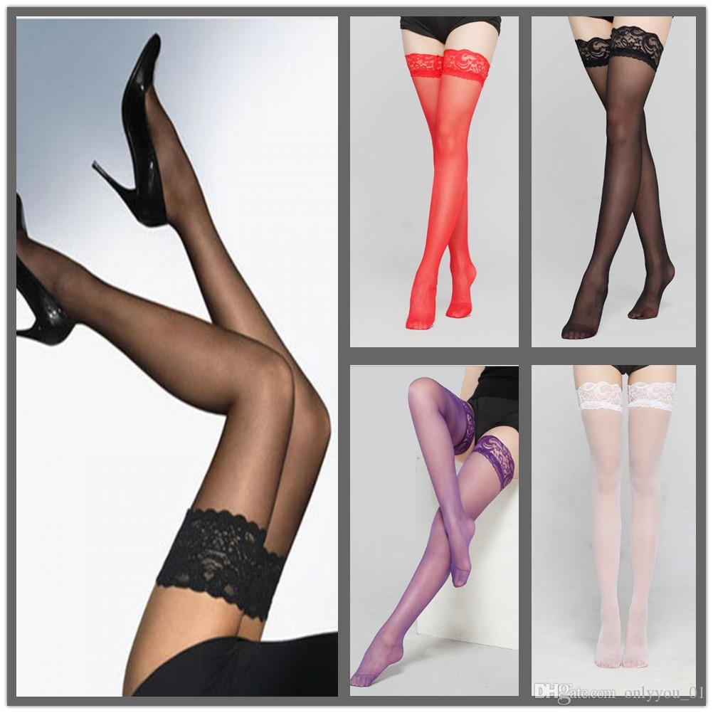 988e75bd5 Wholesale Sexy Womens Sheer Lace TopSilicone Non Slip Silicone Stocking  Band Stay Up Thigh High Stockings Pantyhose Lingerie Canada 2019 From  Onlyyou 01