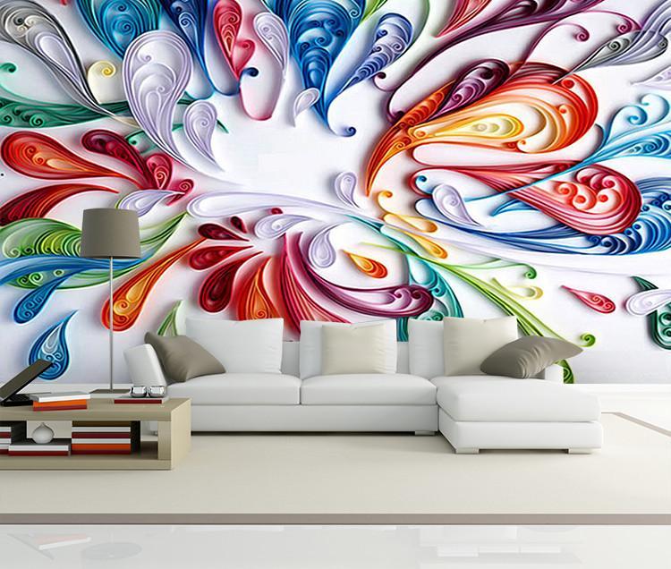 Großhandel Benutzerdefinierte 3d Wandbild Tapete Für Wand Moderne Kunst  Kreative Bunte Floral Abstrakte Linie Malerei Tapeten Für Wohnzimmer  Schlafzimmer ...