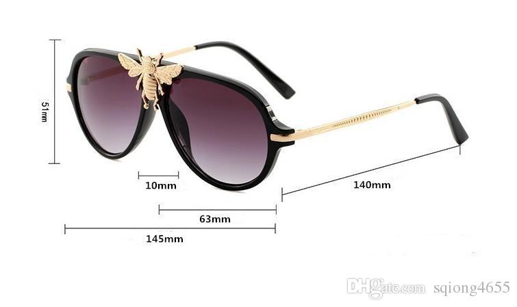 2018 nuevas gafas de sol grandes de la abeja para las mujeres hombre famosos diseñadores de la banda de italia gafas de sol gafas de moda estilo 1885 gafas espejo gafas