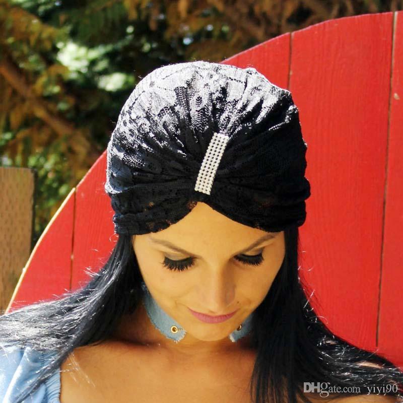 Compre Estampado De Encaje Elástico Musulmán Flor De Punto Turbante Turbante  Sombrero De La Envoltura Chemo Gorro Hiyab Gorro De Cabeza Plisada Bufanda  Para ... ede435612d0