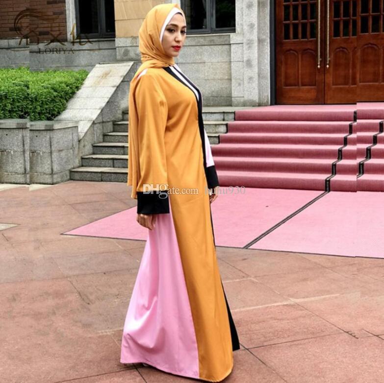 2019 Muslim Women Hit Color Abaya Arab Fashion Turkey Middle East Cardigan  Dresses Musical Robe Ramadan Abaya From Huhu930 701faa477b92