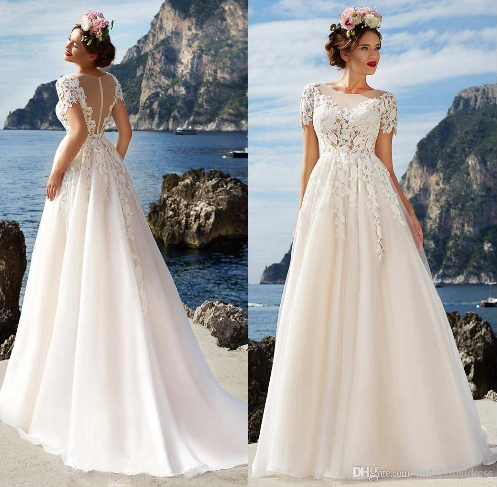381628d116ad7 Discount 2018 Romantic Lace Short Sleeves Beach Wedding Dresses A Line Sheer  Scoop Neck Summer Bridal Gowns Zipper Back A Line Satin Wedding Dress A  Line ...