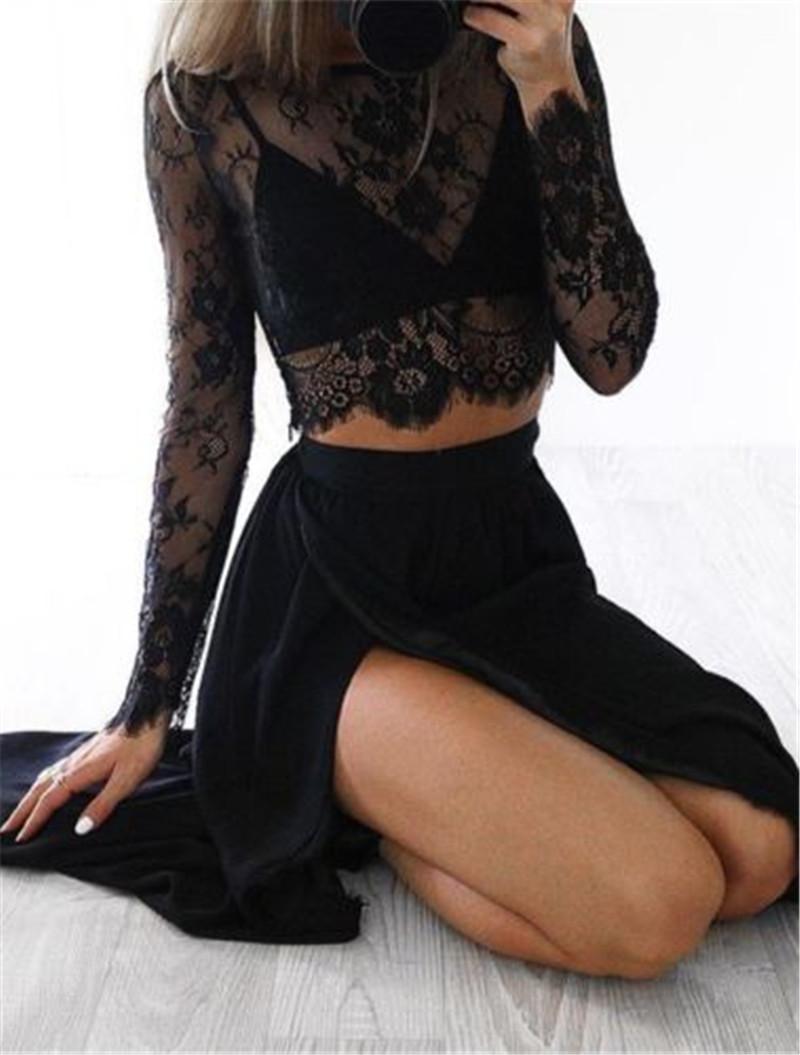 aaa7642b536a0 2019 Sexy Women Clubwear Lace See Through Long Sleeve T Shirt Crop Tops  High Waist Side Split Black Solid Party Long Maxi Skirt From Zanzibar