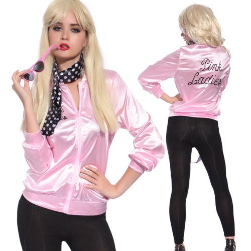 bf7c6cdadc3 Plus size 6XL Ladies Satin Jacket Lady 50 s Costume Pink Lady Retro 50s  Jacket Women Fancy Grease Costume Cheerleader Hen Party sexy
