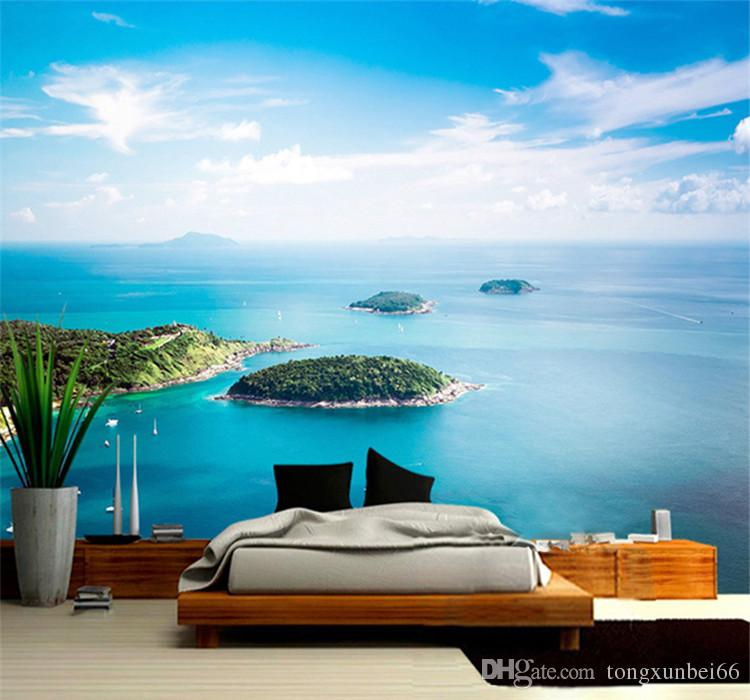Mediterranean Style Blue Sky Sea View Island 3D Wallpaper Beautiful Nature Landscape Photo Mural Living Room Bedside Home Decor