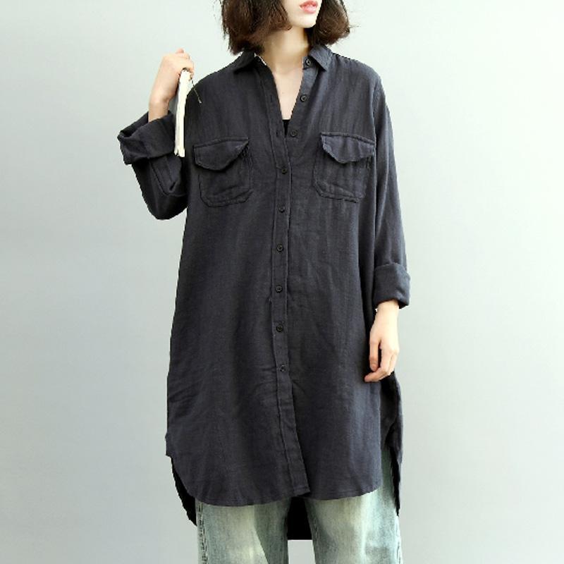 3f6b20137c 2019 Plus Size ZANZEA Women Cotton Linen Long Shirt Buttons Down Solid  Loose Asymmetric Hem Blouse Femme Casual Lapel Neck Top M 5XL From Yujiu