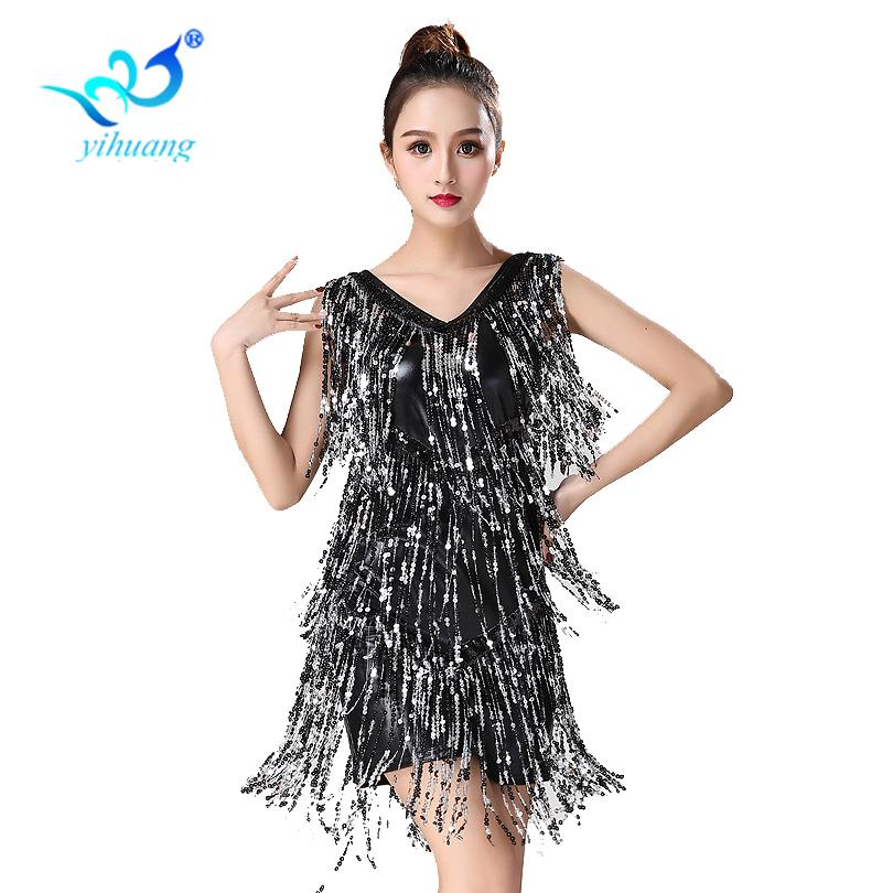 a51301d5d5b6 2019 Ladies Latin Dance Costume Dress 1920s Flapper Party Charleston Gatsby  Dress Sequin Fringe Dance Performance Stage Show From Mujing, $38.76 |  DHgate.