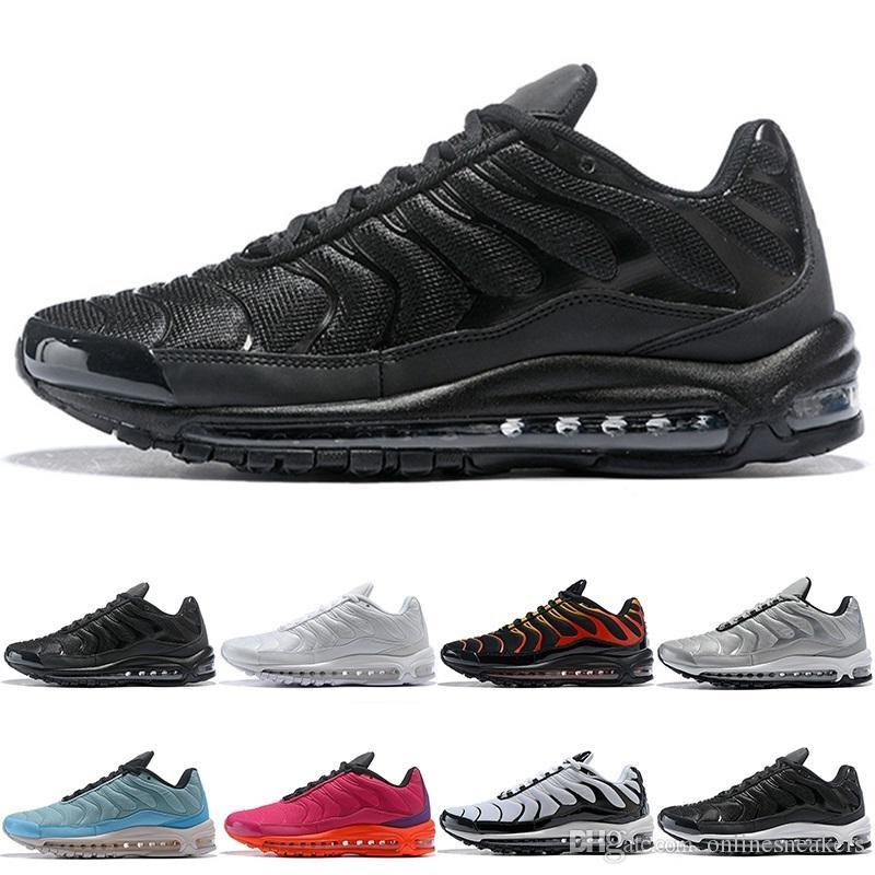 pretty nice 650f7 ab666 Nike Air Max 97 Plus Airmax 97 Plus Zapatillas De Correr Hombres Mujeres  Triple Blanco Negro Plata Dorado Bullet Azul Marino Fuego Rojo Barato  Hombres ...