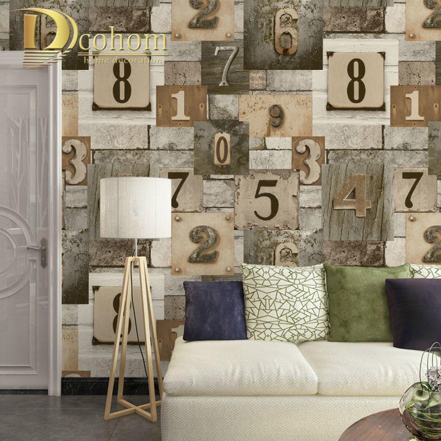 Dcohom Modern Vintage Wood Brick Wall Art Wallpaper For Bedroom ...