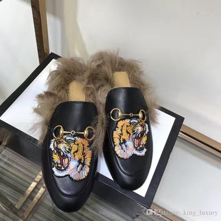 2018 Damen Casual Pantoffeln mit Animal Prints und Pelz faul weiches flaches Leder