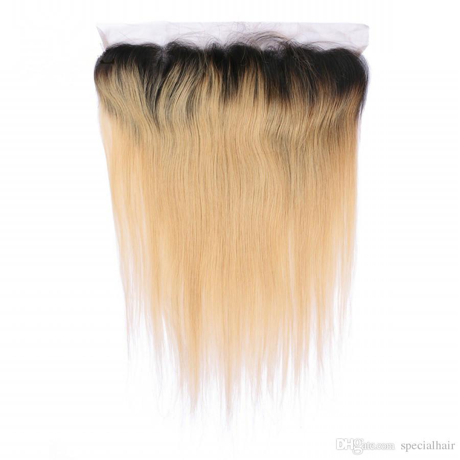# 1B / 27 حزم أومبير الهندي العذراء الشعر مع الدانتيل أمامي إغلاق 13x4 مستقيم العسل شقراء أومبير شعرة الإنسان ينسج مع frontals الكامل