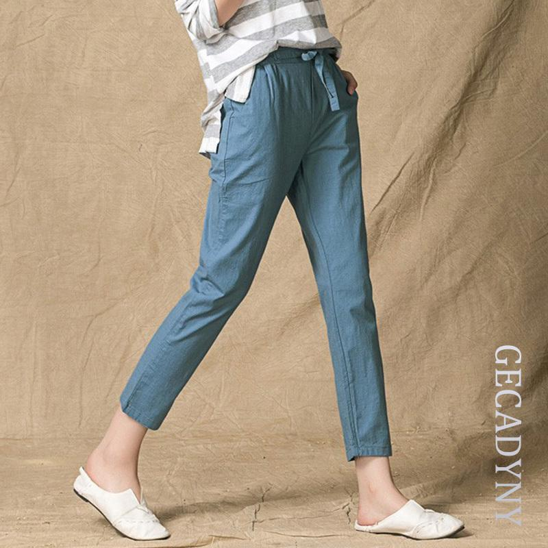 fc71bf5730f 2019 Summer Style 2018 Pants Women High Quality Cotton Linen Pants Casual  Elastic Waist Slim Trousers Capris For Women Pantalon Femme S914 From  Ruiqi02