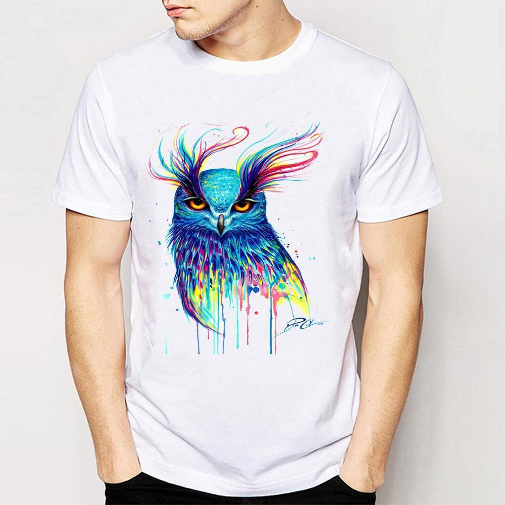 7a18dbefac5c6 Satın Al Hip Hop Tarzı Erkek Kısa Kollu Renkli Baykuş T Shirt ...