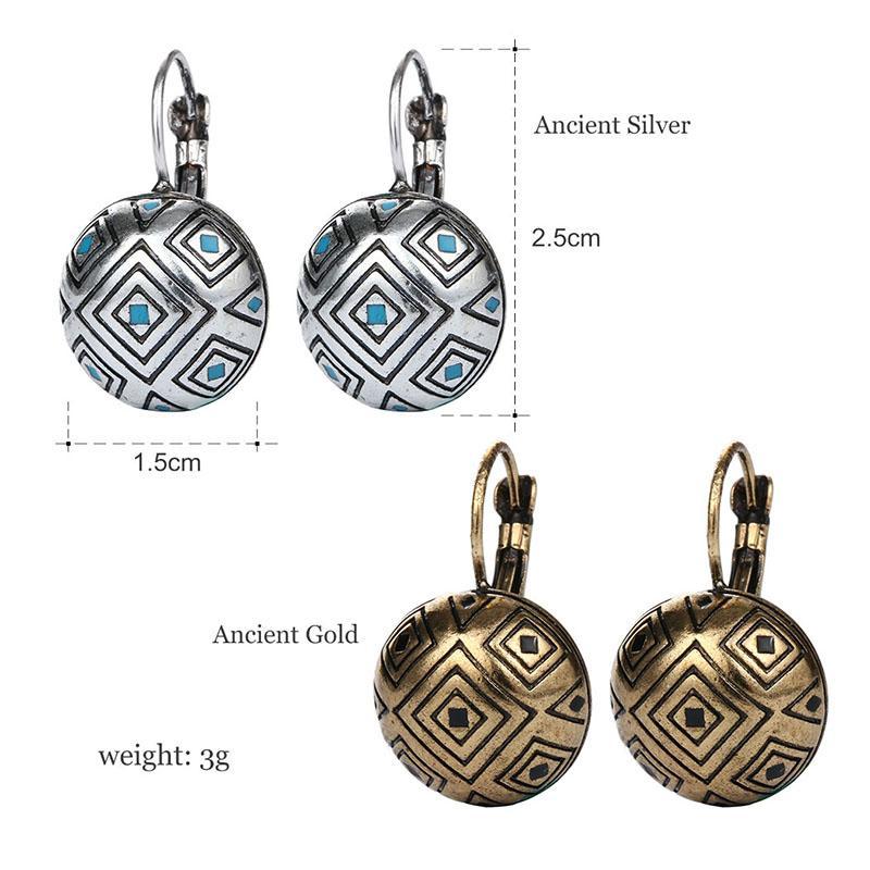 New Vintage Bohemian argento antico color oro intaglio orecchini gioielli moda orecchini le donne Pendientes Mujer Moda