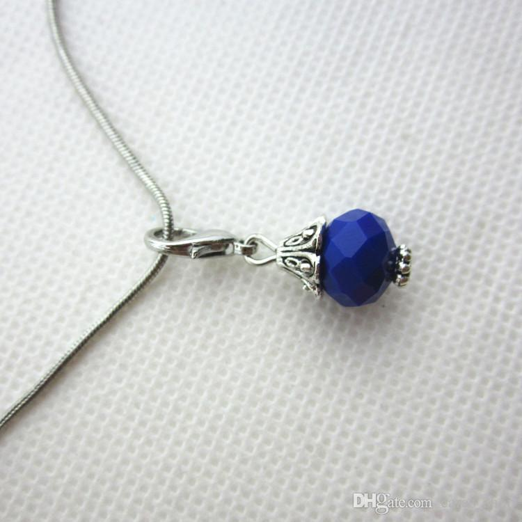 Hot selling 100/pcs dark blue month birthstone crystal dangle charms lobster clasp charms for glass floating lockets