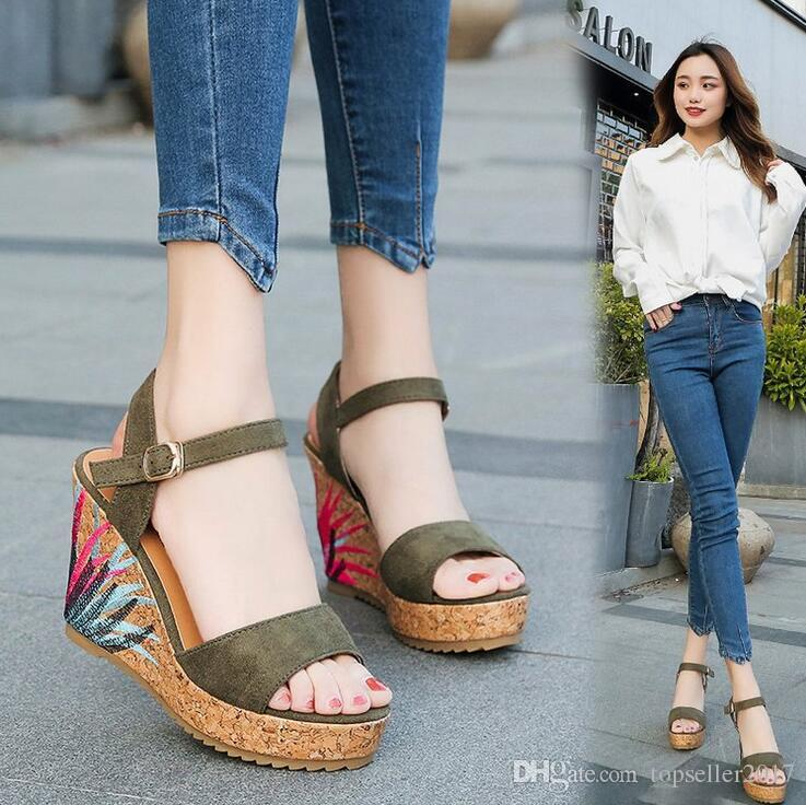 New Arrival Summer Ladies Shoes Leather Women Sandals Open Toe Fish Head Fashion Platform Woman High Heels Wedges Sandals Shoes