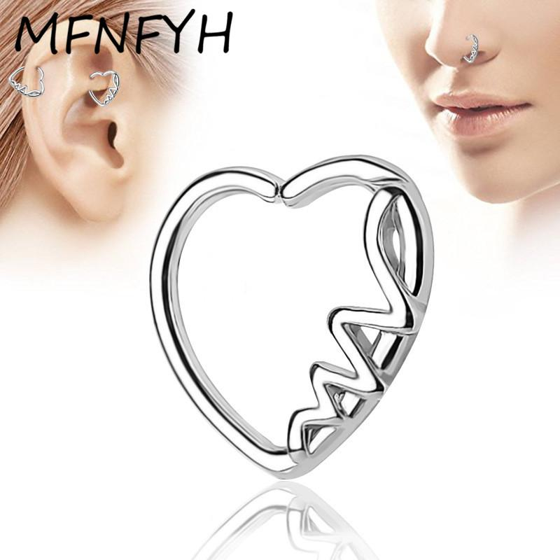 wholesale 10PCS Sexy Women Silver Heart Nose Rings and Studs Indian Body Jewelry Ear Pircing Copper Industrial Piercing Wholesale