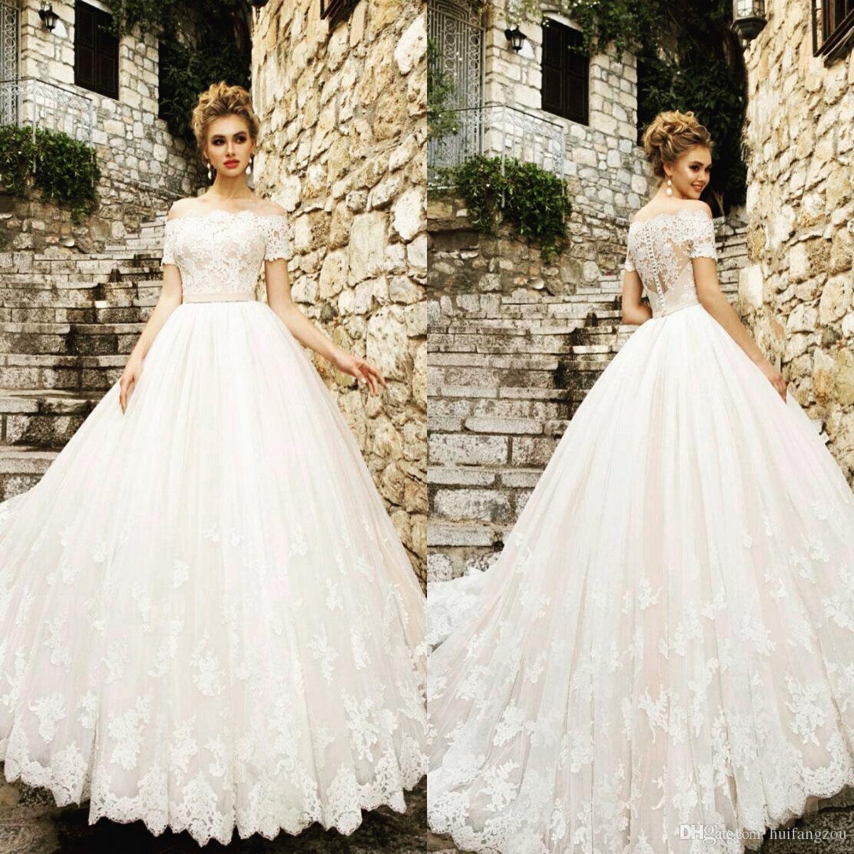 Vintage Wedding Dresses Under 500: Discount Vintage Princess Wedding Dress 2019 Off Shoulder