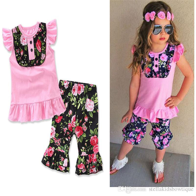 3PCS Fashion Baby Kids Girls Outfits Pink T-shirt and Black Floral Print Long Pant Clothing Set Boutique Kids Clothes