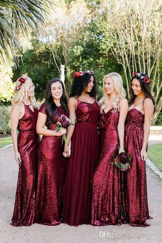 Burgund trägerlosen Backless lange Brautjungfernkleider 2018 Sparkling Pailletten Hochzeit Gast Kleider Plus Size Trauzeugin Kleider