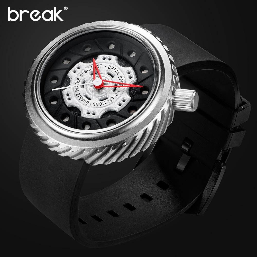 BREAK Men Sport Watches Racing Motorcyle Casual Fashion Passion Waterproof Geek Creative Wristwatches Cool Rubber Strap Watches