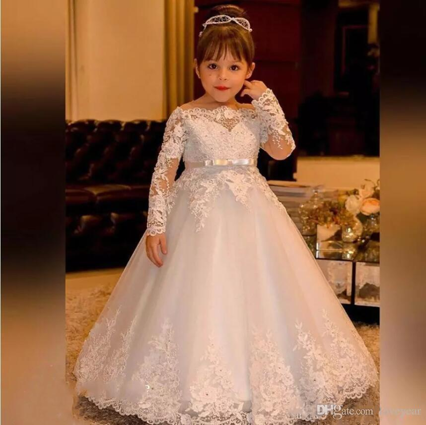 57a85a80b Vintage Princess Flower Girl Dresses Boat Neck Lace Long Sleeves ...
