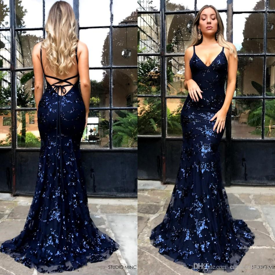 7192cd8ca162 Deep V Neck Sequined Navy Blue Prom Dresses 2019 Halter Spaghetti Straps  Mermaid Long Evening Gowns Backless Party Dress BA9164 Formal Dresses  Online Lace ...
