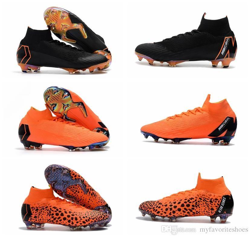 2dfabad1ec7 2018 Top Quality Mens Soccer Cleats MERCURIAL SUPERFLY KJ VI 360 ELITE FG Kids  Soccer Shoes Boys Football Boots High Ankle Scarpe Da Calcio Brown Patent  ...
