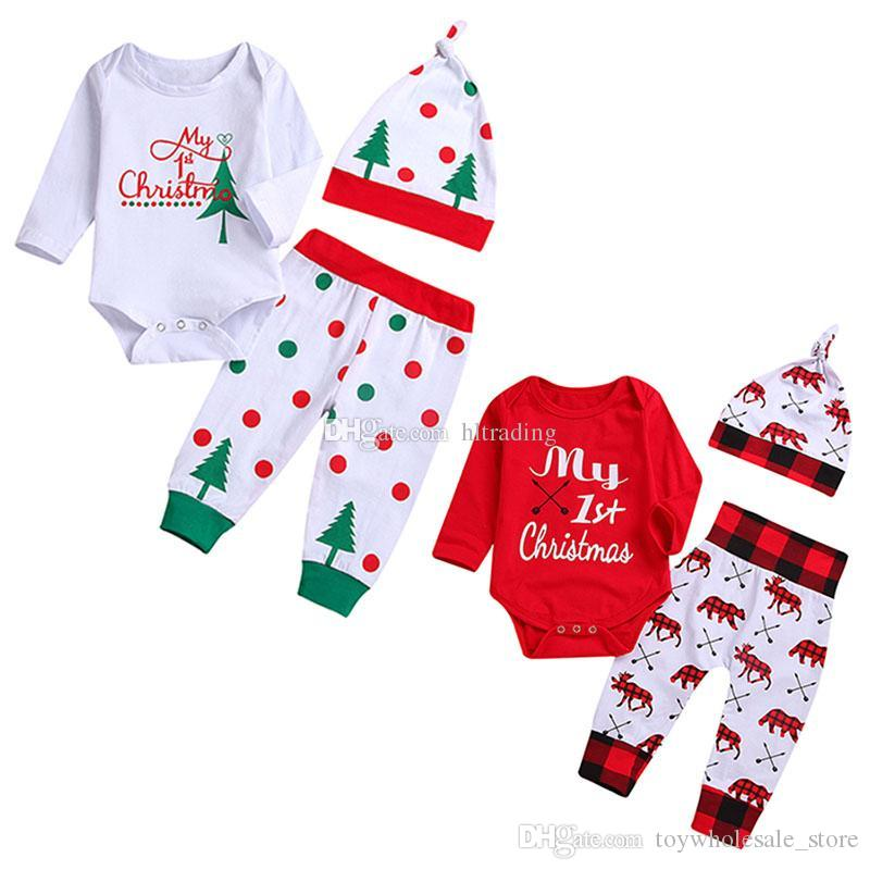 67636a04c Baby Xmas letter outfits children girls boys Christmas tree deer hat+romper+Dot  plaid pants 3pcs/set Spring Autumn kids Clothing Sets C5458
