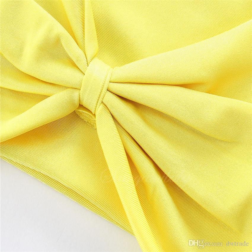Yeni Yaz Kız Sarı Dantel-up Halter Asılı Boyun Tops Siyah Eşkenar Dörtgen Baskılı Külot Bölünmüş Mayolar Çocuklar Yaz Plaj bikinis