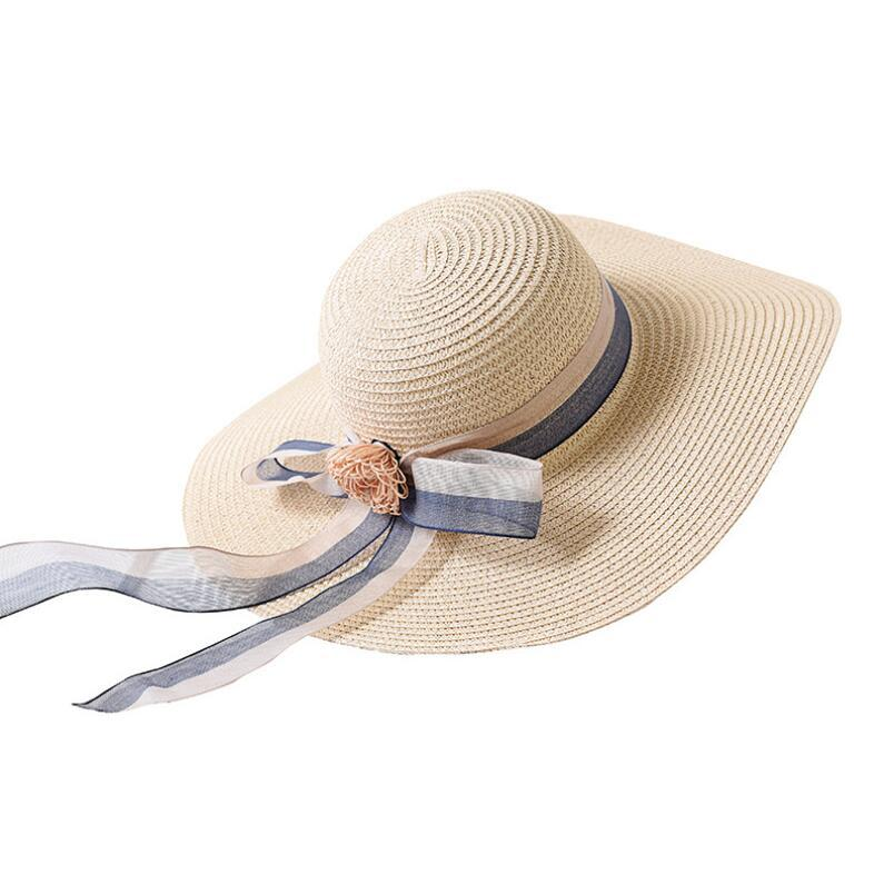 8018cee154d Hot Sale Summer Sun Hats For Women Large Brim With Ribbons Bow Beach Hat  Cap Ladies Sun Hat UV Protect Chapeu Feminino Cowboy Hats Pork Pie Hat From  ...