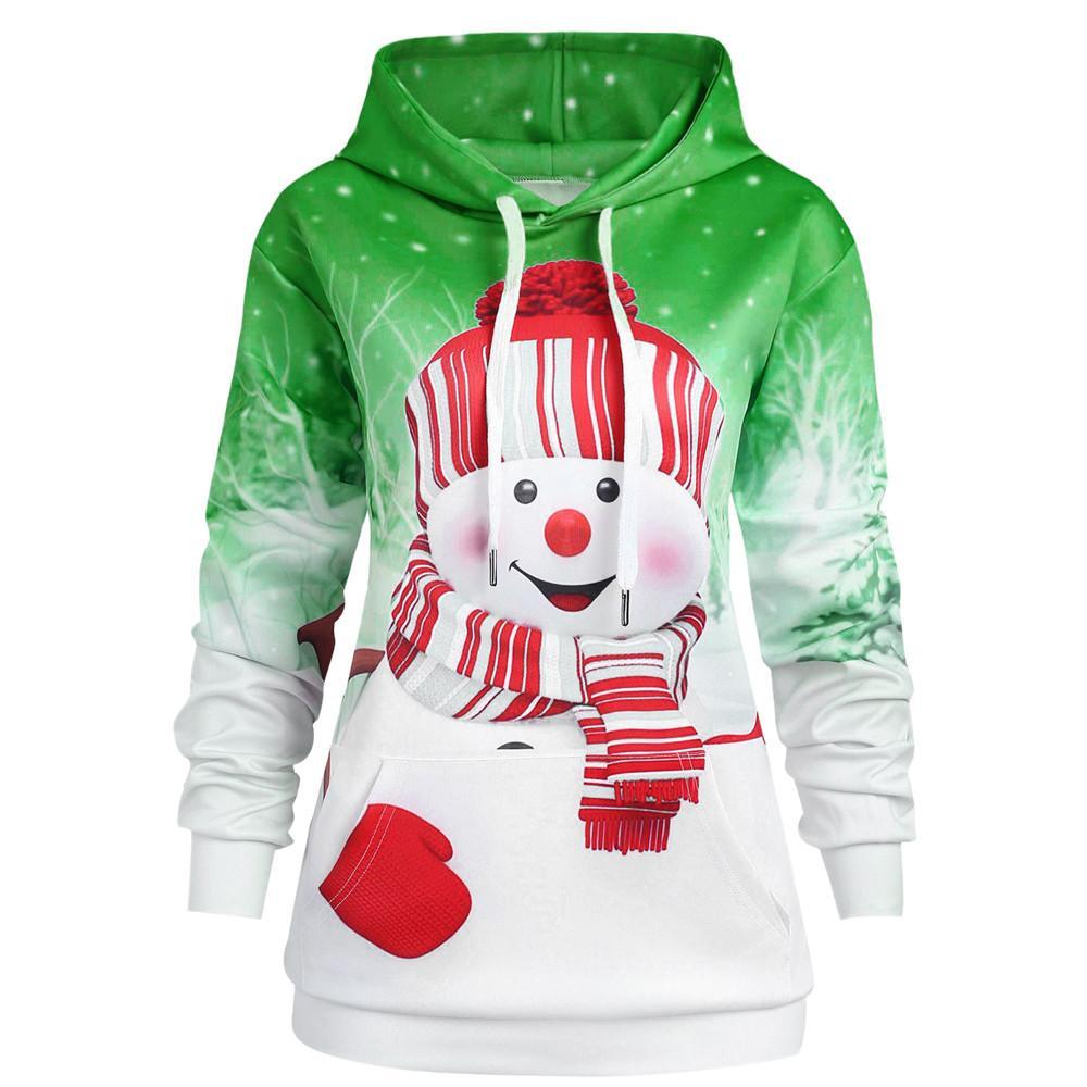 07fe59e81b510 Feitong Women Hoodie Christmas Kangaroo Pocket Cartoon Snowman Print  Sweatshirt Pullover Double Eleven New Arrival Discount