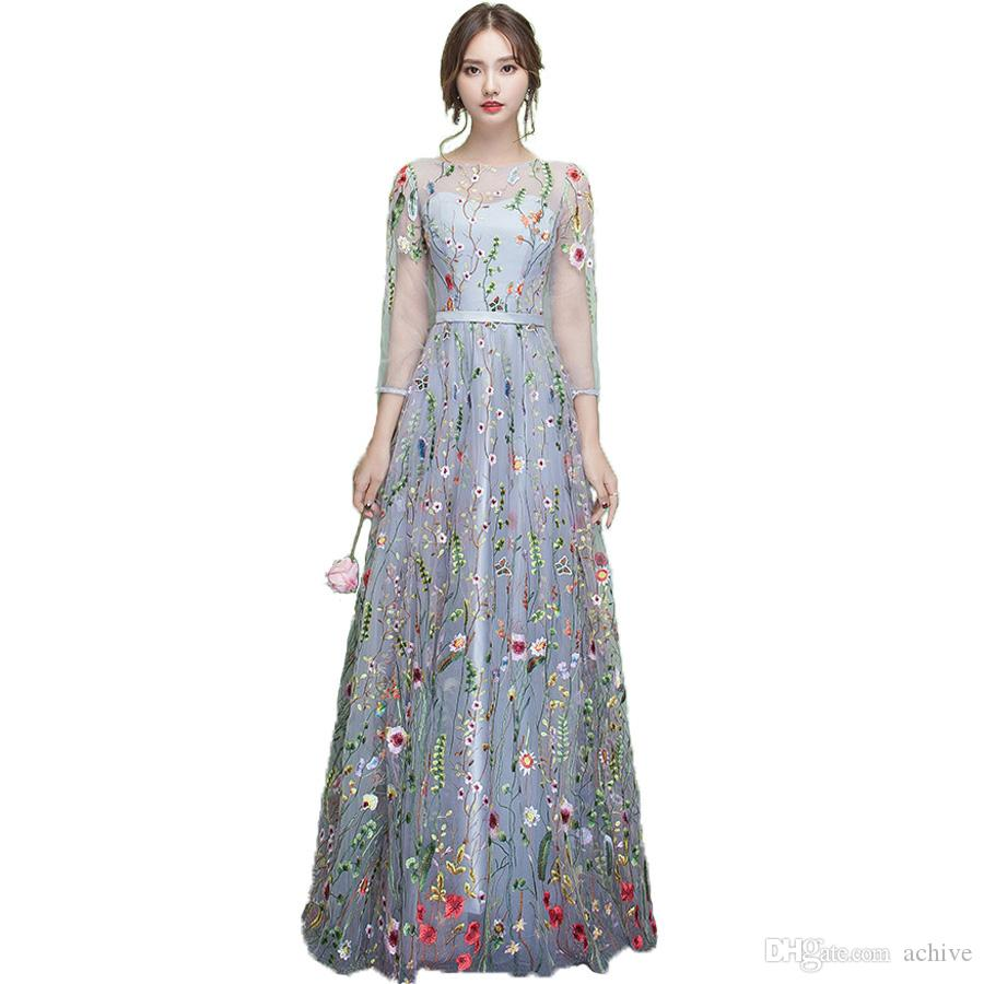 Stylish Black Printed Lace Prom Dresses With 3/4 Sleeves Illusion Long Prom Dress 2018 Cheap Evening Party Formal Gowns