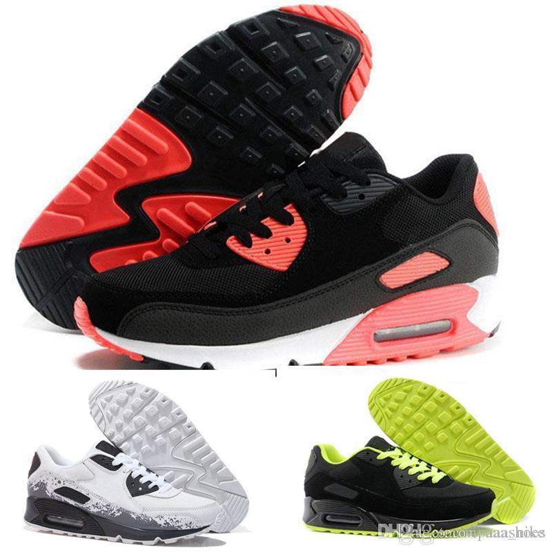best sneakers 73afb 6cc6d Acheter Grand Escompte Vente Chaude Hommes Sneakers Chaussures Classique 90  Hommes Chaussures De Course En Gros Drop Shipping Sports Entraîneur Air  Coussin ...
