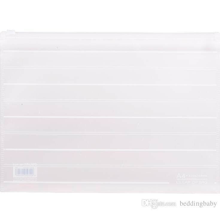الجملة A4 PP ملف ملف Matreial حقيبة وثيقة من البلاستيك الشفاف حقيبة غلق بمشبك تخزين القرطاسية حقيبة ملف Holde Plascitc زيبر حقيبة