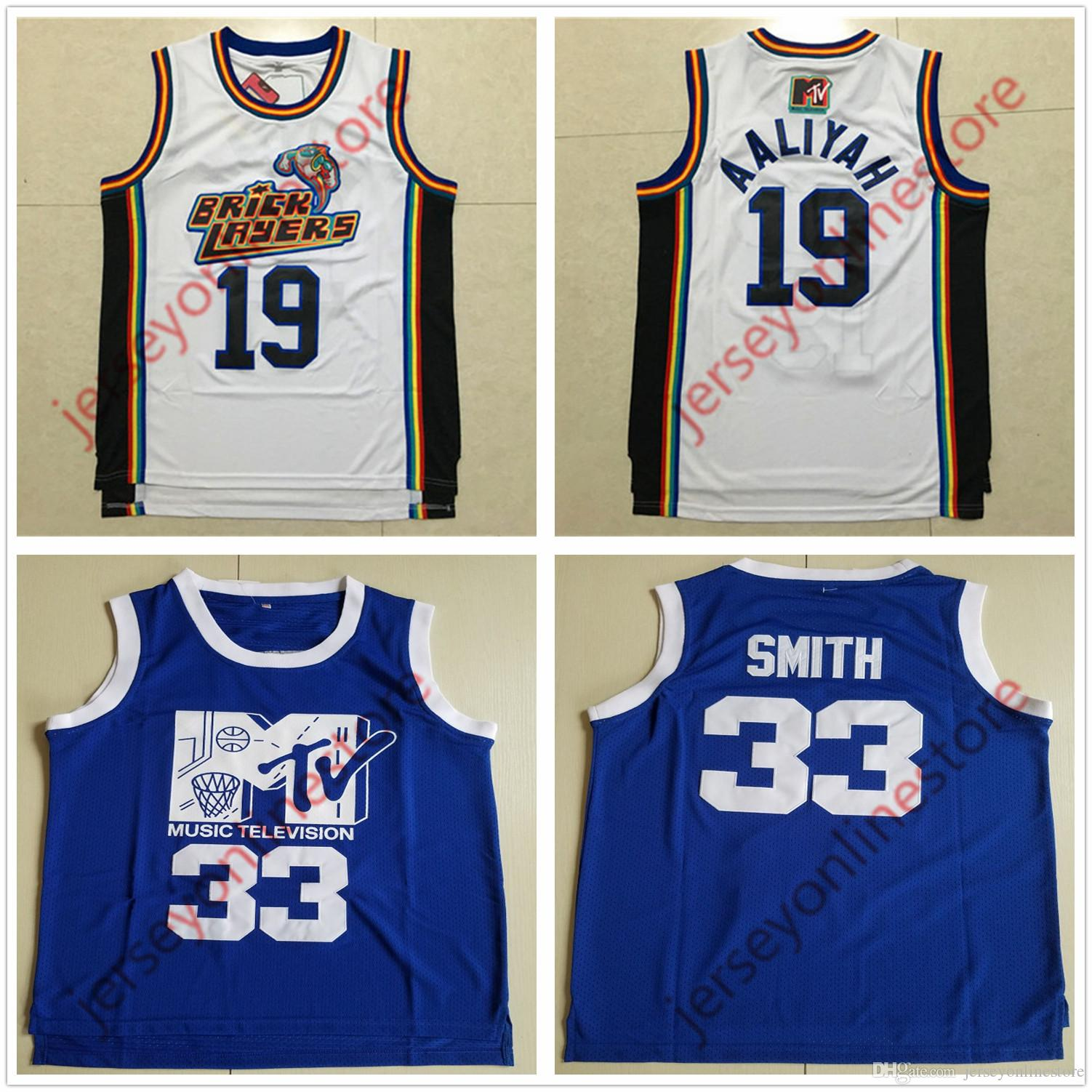 d80b7e3776aa37 2019 Men 1996 MTV Rock N Jock Bricklayers 19  Aaliyah Jersey Prima Annuale  B Ball Jam 1991 Cucito Tutto 33  Will Smith Basketball Jerseys From ...