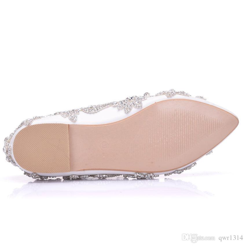 New Fashion Rhinestone Women Flats Multi Crystal Pointed Toe Flat Beautiful Wedding Shoes Plus Size