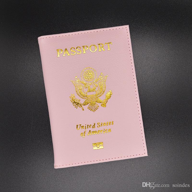 Mignon PU en cuir USA Couverture Du Passeport Rose Femmes Titulaire De La Carte De Passeport Marque Américain Couvre-Portefeuilles pour Passeports Filles America Passeport