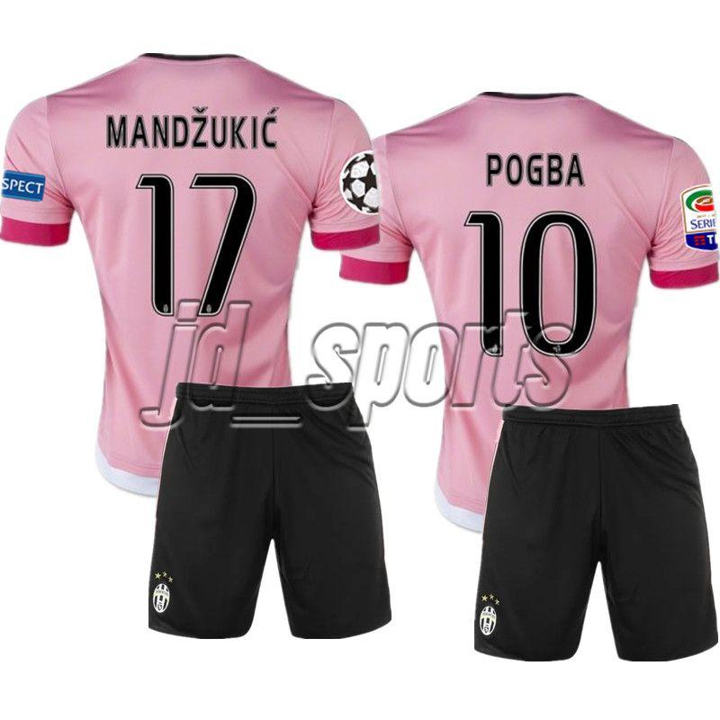 reputable site 2df55 87e75 2015-16 Juventus Pogba Higuain Dybala Pjanic Pink Soccer Sets Juve Futbol  Camisa Jerseys Football Camisetas Shirt Kit Maillot Serie A