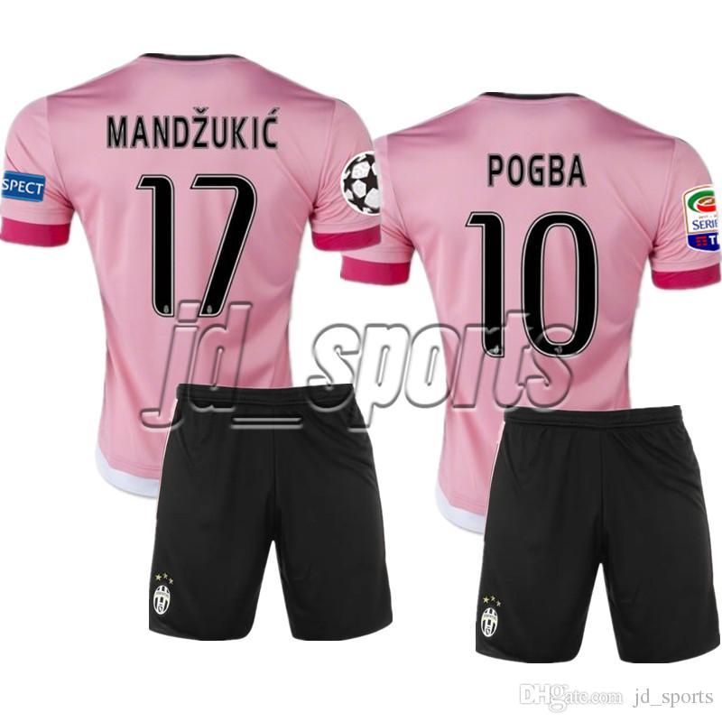 3c616f7b0ff9c Compre Juventus Juve 2015 16 Pogba Higuain Dybala Pjanic Pink Soccer Sets  Futbol Camisa Jerseys Futebol Camisetas Camisa Kit Maillot Serie A De  Jd sports