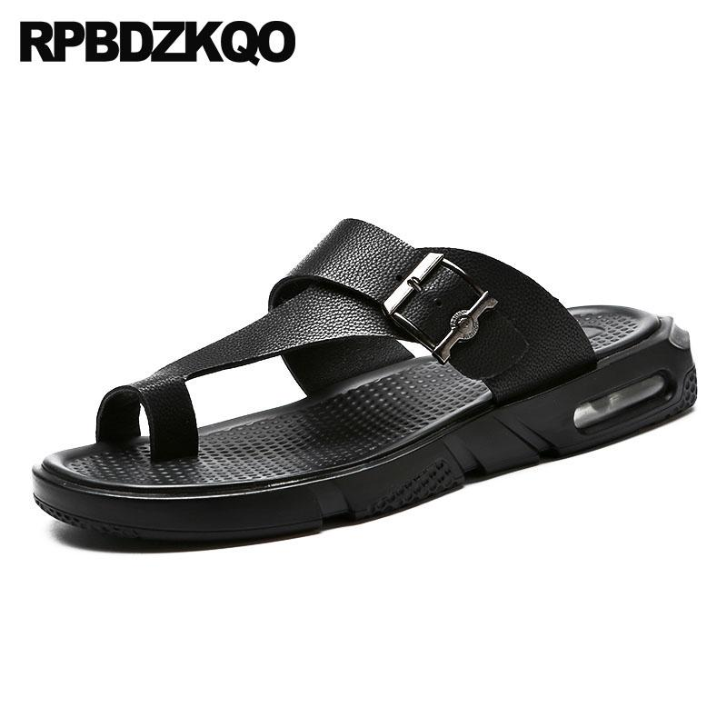 de85debeafc5a5 Soft Men Sandals Leather Summer Black Outdoor High Quality Shoes Waterproof Beach  Slippers Water Slip On Toe Loop 2018 Slides Wedges Espadrilles From ...